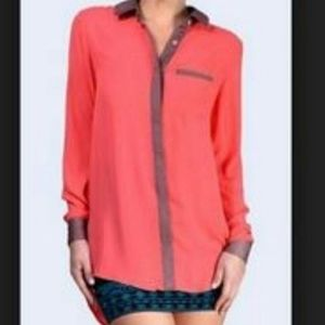 Free People M Coral & Taupe Lounge Top Button Down